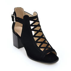 Women's Leatherette Chunky Heel Sandals Peep Toe With Buckle shoes