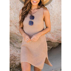 Solid Color Strap Round Neck Casual Cover-ups Swimsuits