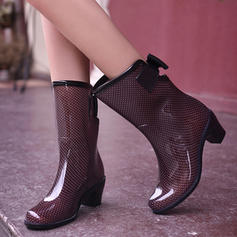 Women's PVC Chunky Heel Boots Mid-Calf Boots Rain Boots With Bowknot shoes