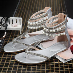 Women's PU Flat Heel Sandals With Imitation Pearl shoes