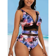 Leaves Print Hollow Out Gradient Strap V-Neck Fashionable Vintage Eye-catching Retro Tie-Dye One-piece Swimsuits