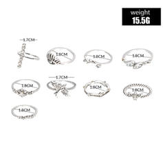 Exotic Alloy Women's Rings (Set of 9)