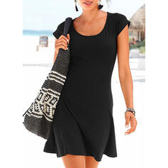 Solid Color Round Neck Sexy Vintage Cover-ups Swimsuits
