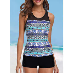 Print Halter Cute Tankinis Swimsuits