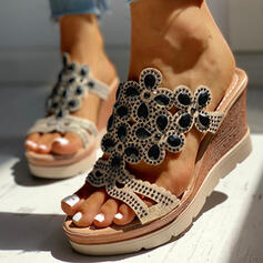 Women's PU Wedge Heel Sandals Wedges Peep Toe Slippers Heels With Rhinestone shoes