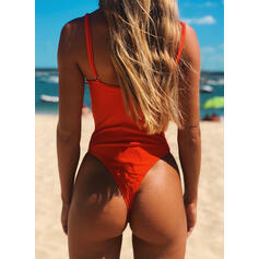 Solid Color Strap V-Neck Fashionable Beautiful Classic One-piece Swimsuits