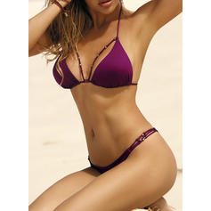 Solid Color Low Waist Halter Sexy Fashionable Bikinis Swimsuits