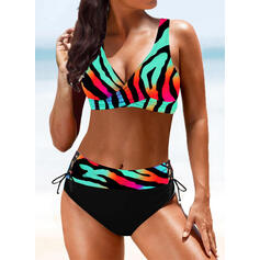 Print Splice color Strap V-Neck Vintage Boho Bikinis Swimsuits
