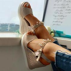 Women's PU Wedge Heel Sandals Wedges Peep Toe Heels With Rhinestone shoes