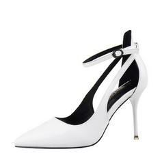 Women's Patent Leather Stiletto Heel Closed Toe Pumps Sandals MaryJane With Buckle