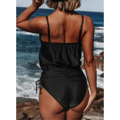 Solid Color String Strap Round Neck Beautiful One-piece Swimsuits