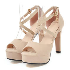 Women's Suede Stiletto Heel Sandals Pumps Platform Peep Toe With Buckle shoes