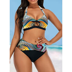 Colorful High Waist Print Keyhole Halter Eye-catching Retro Bikinis Swimsuits