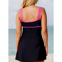 Solid Color Strap Elegant Plus Size Swimdresses Swimsuits
