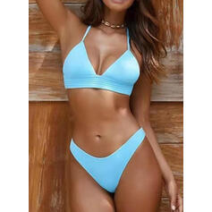 Solid Color Lace Up Strap V-Neck Sexy Vintage Bikinis Swimsuits