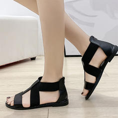 Women's Leatherette Flat Heel Sandals With Zipper Elastic Band shoes