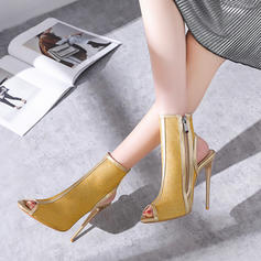 Women's Leatherette Stiletto Heel Boots Peep Toe Slingbacks With Zipper shoes