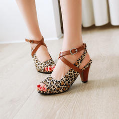 Women's Leatherette Chunky Heel Sandals Pumps Peep Toe Slingbacks With Buckle Animal Print shoes