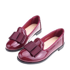 Girl's Leatherette Flat Heel Closed Toe Loafers & Slip-Ons Flats With Bowknot