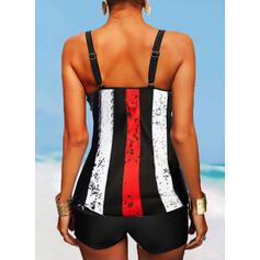 Flag Stripe Splice color Strap U-Neck Classic Tankinis Swimsuits