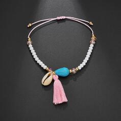 Stylish Boho Alloy Crystal Braided Rope With Tassels Shell Beach Jewelry Anklets