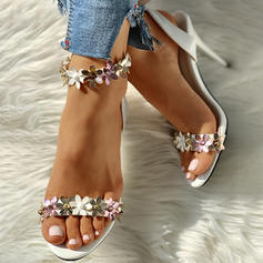 Women's PU Stiletto Heel Sandals Peep Toe With Buckle Flower shoes