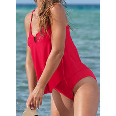 Solid Color Keyhole Strap Classic Casual Tankinis Swimsuits