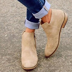 Women's Suede Flat Heel Ankle Boots With Zipper shoes