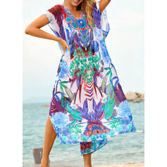Splice color Tropical Print Lace Up V-Neck Bohemian Colorful Cover-ups Swimsuits