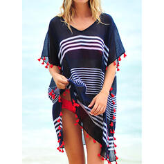 Stripe Tassels V-Neck Fashionable Bohemian Cover-ups Swimsuits