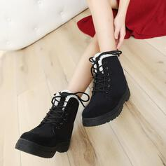 Women's Suede Flat Heel Flats Boots Winter Boots With Lace-up shoes