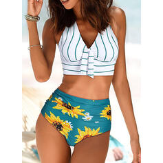 Floral High Waist Print Halter V-Neck Vintage Fresh Bikinis Swimsuits