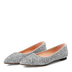 Women's Leatherette Flat Heel Flats With Sparkling Glitter shoes