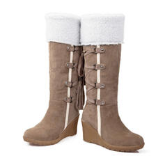 Women's PU Wedge Heel Mid-Calf Boots Snow Boots With Lace-up shoes
