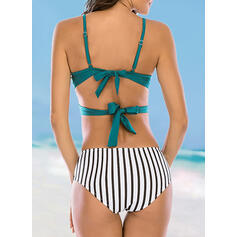 Solid Color Stripe High Waist Strap Sexy Attractive Bikinis Swimsuits