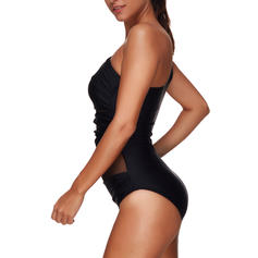 Solid Color Mesh Strap Sexy Plus Size One-piece Swimsuits