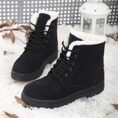 Women's Suede Low Heel Snow Boots With Lace-up shoes
