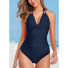 Solid Color Ruffles Halter V-Neck Fashionable Beautiful Casual One-piece Swimsuits