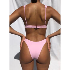 Solid Color Low Waist Strap V-Neck Sexy Bikinis Swimsuits