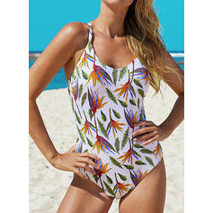 Leaves Print Strap Beautiful Attractive Cute One-piece Swimsuits