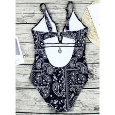 Floral V-Neck Elegant One-piece Swimsuits