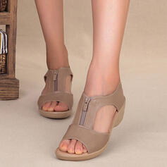 Women's PU Wedge Heel Sandals Closed Toe Low Top Round Toe With Zipper Hollow-out shoes