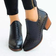 Women's PU Chunky Heel Ankle Boots With Zipper shoes