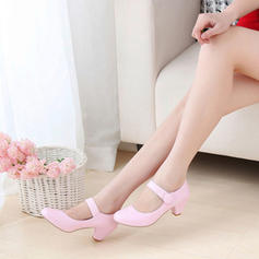 Women's Leatherette Chunky Heel With Velcro shoes