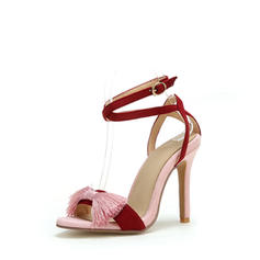Women's Leatherette Stiletto Heel Sandals Peep Toe With Ribbon Tie shoes