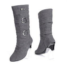 Women's Leatherette Kitten Heel Closed Toe Boots Knee High Boots Mid-Calf Boots Snow Boots With Rivet Buckle shoes