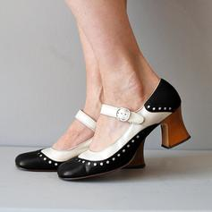 Women's PU Chunky Heel Closed Toe With Buckle shoes