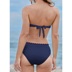 Solid Color Cherry Bowknot Strapless Classic Cute Bikinis Swimsuits