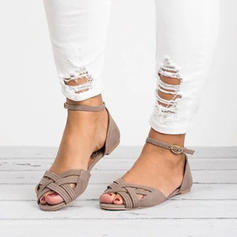 Leatherette Flat Heel Sandals Flats Peep Toe With Braided Strap shoes