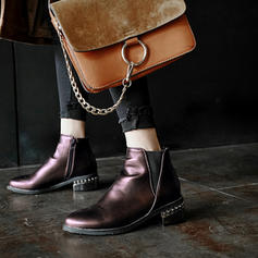 Women's Leatherette Chunky Heel Boots Ankle Boots With Jewelry Heel shoes